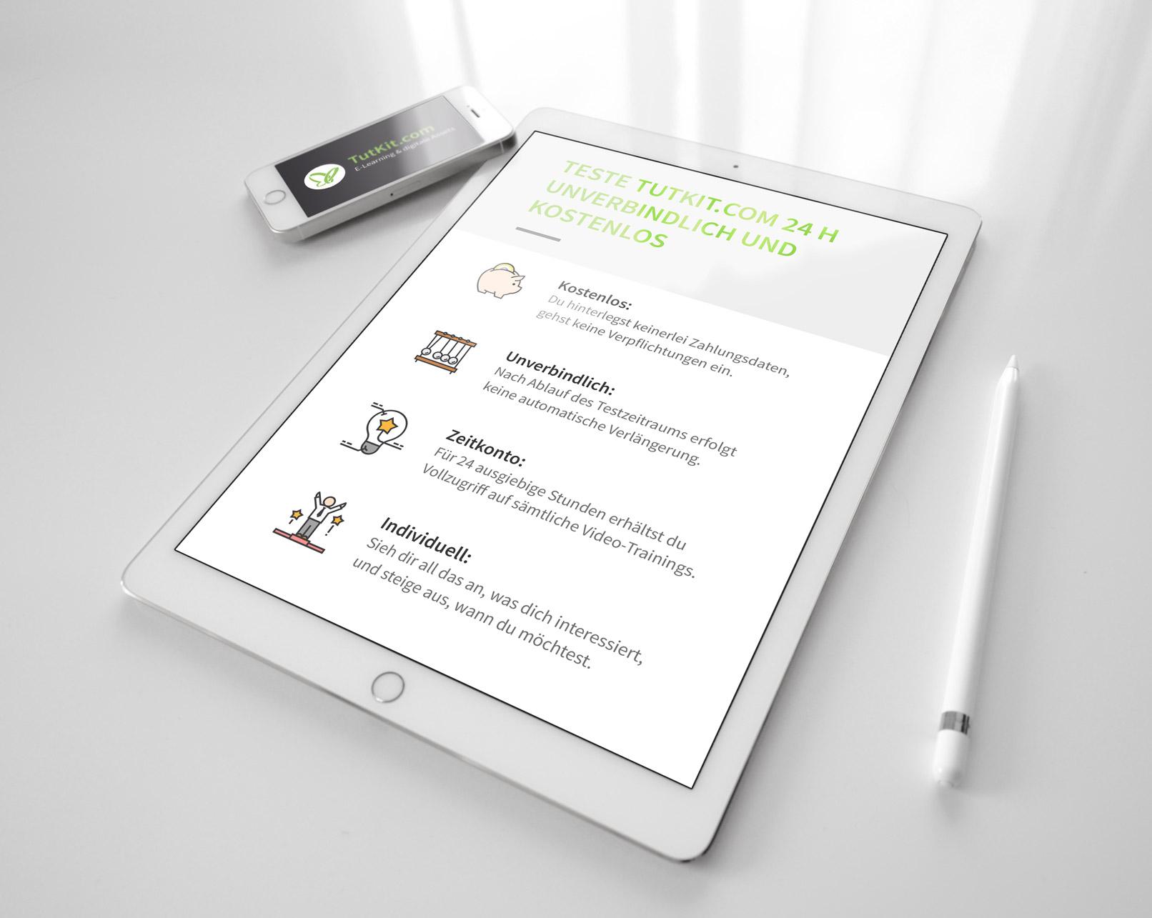 Tablet mit Webseite und Business-Icons