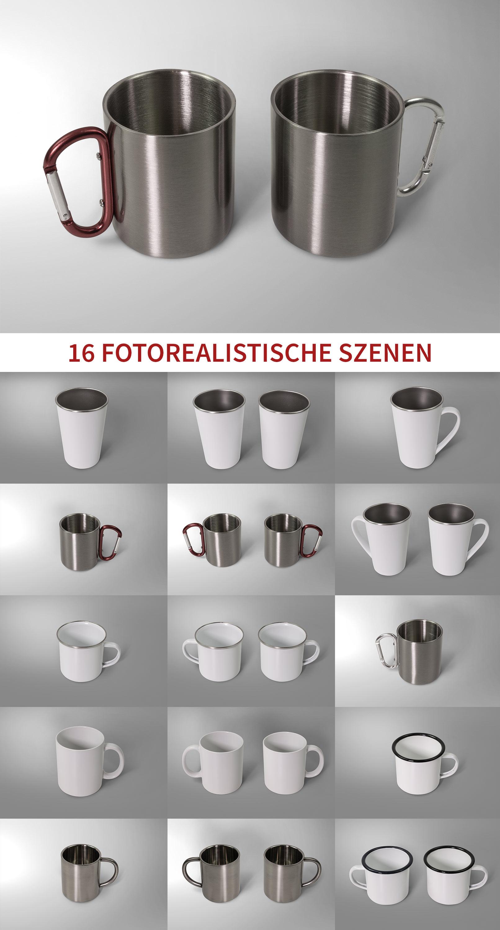 16Photoshop-Mockups für Tassenmit verschiedenen Hintergründen