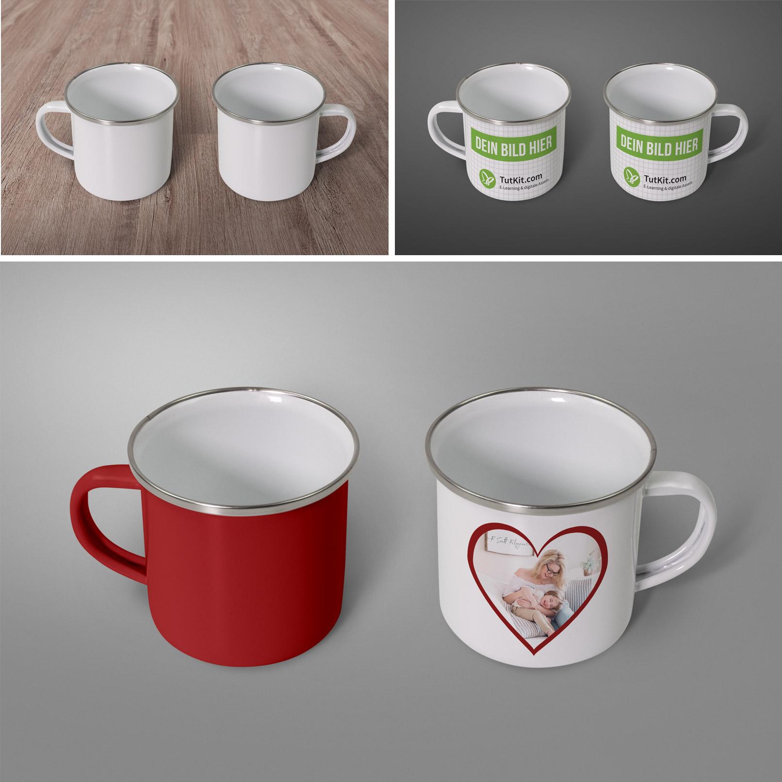 Mockups für Tassen zeigen den Photoshop-Workflow