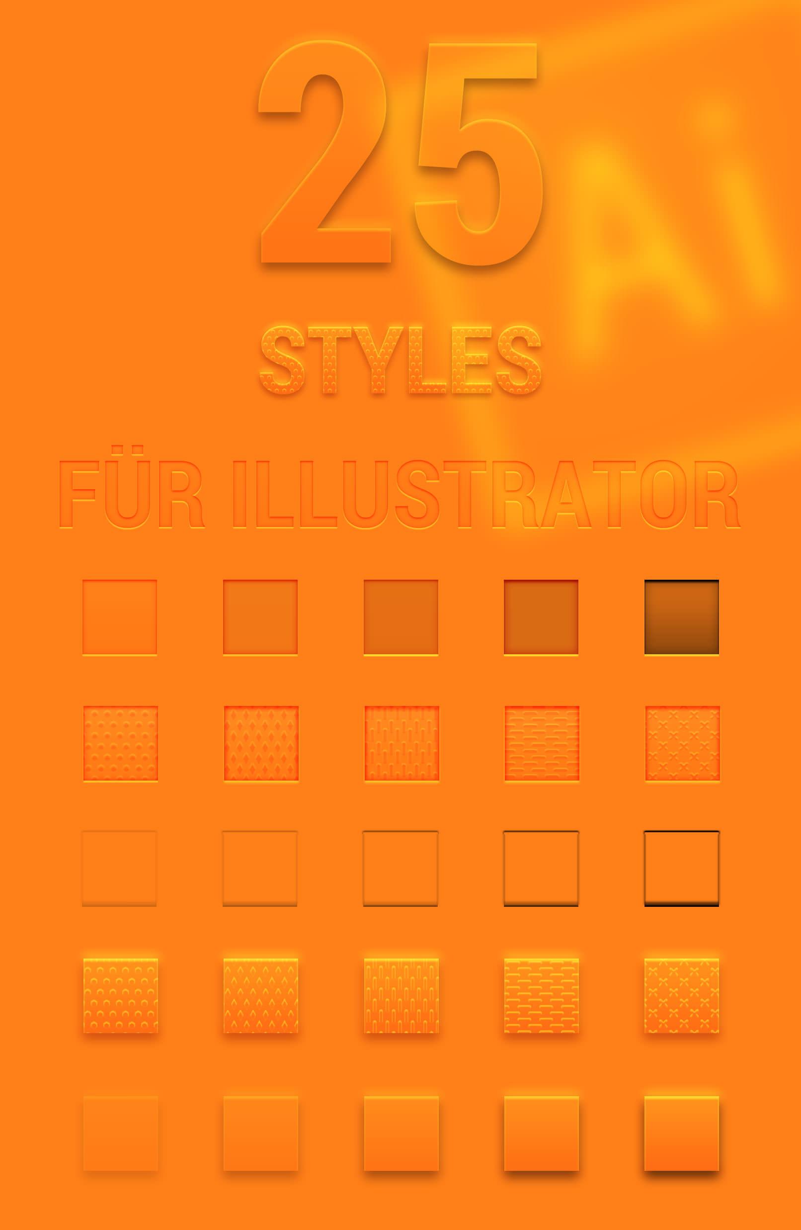 Adobe Illustrator: 25 vektorbasierte Grafikstile für Transparenz, Relief und Prägung für Texte und Grafiken