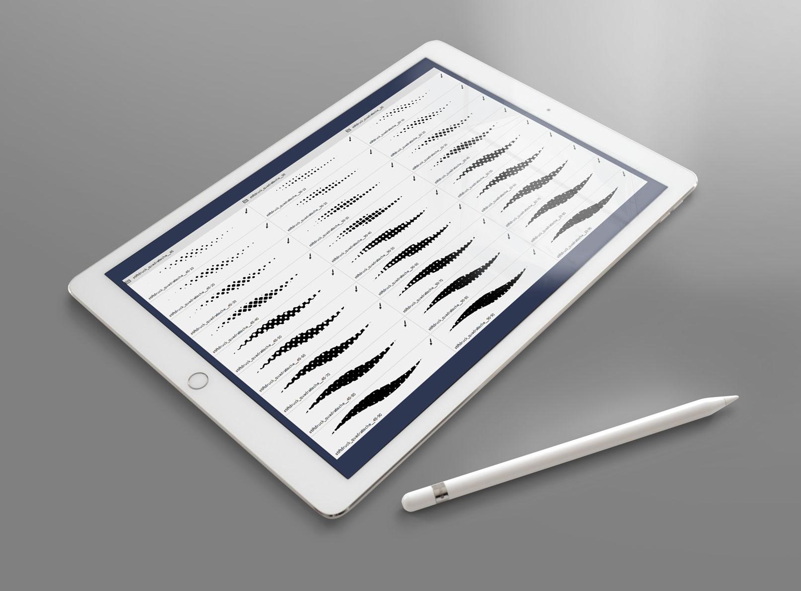 Pinsel für Halbtonraster, dargestellt auf einem Tablet, daneben liegt ein Eingabestift