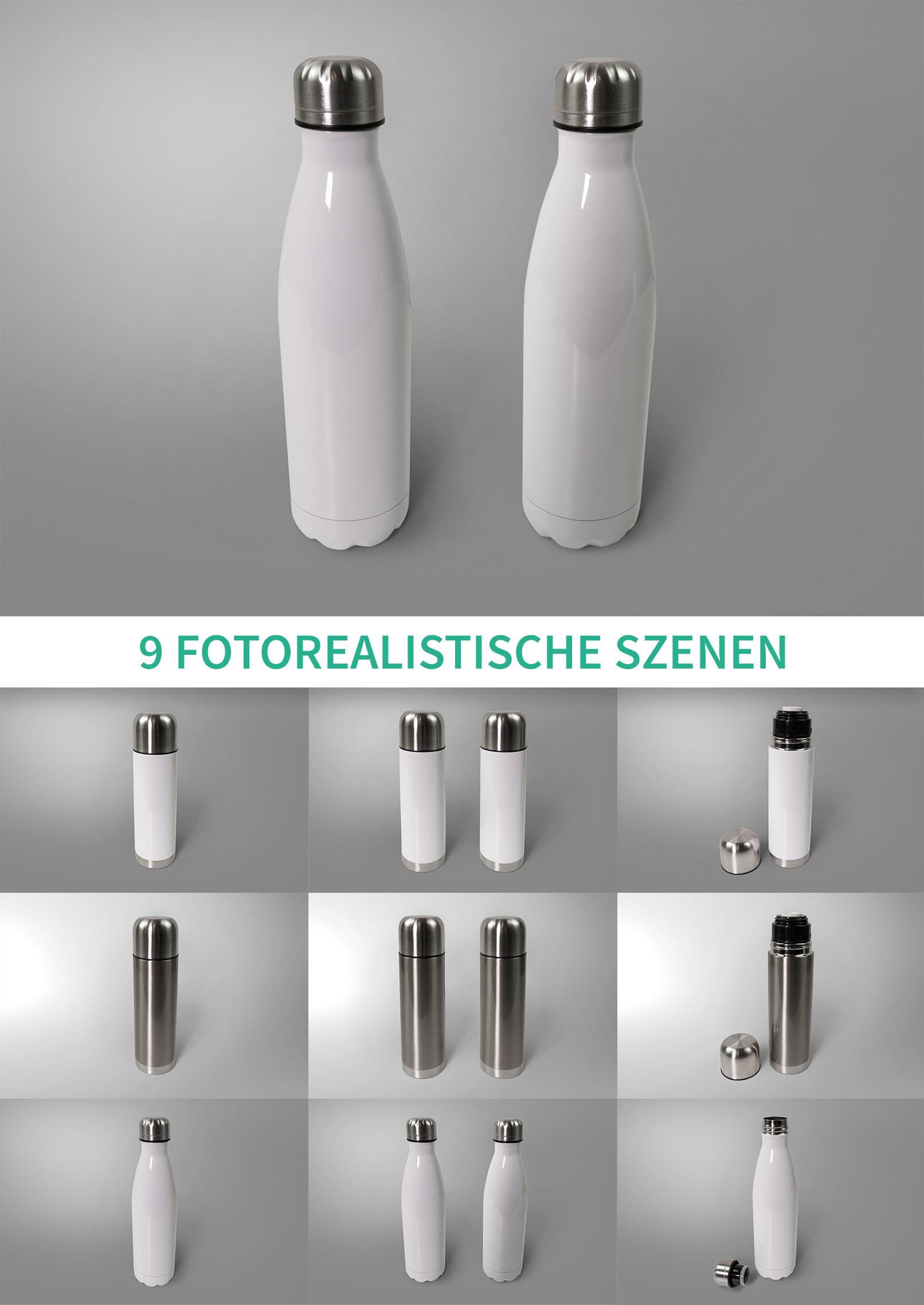 9 Photoshop-Mockups für Thermosflaschenmit verschiedenen Hintergründen