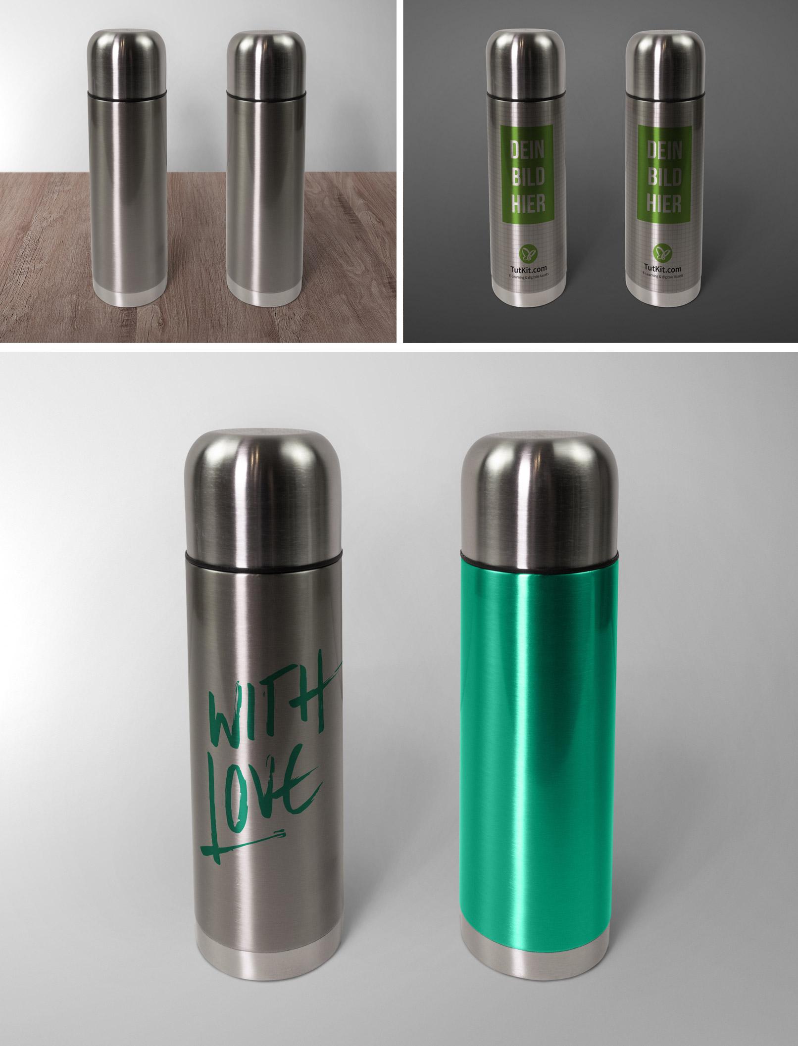 Mockups für Thermosflaschen zeigen den Photoshop-Workflow