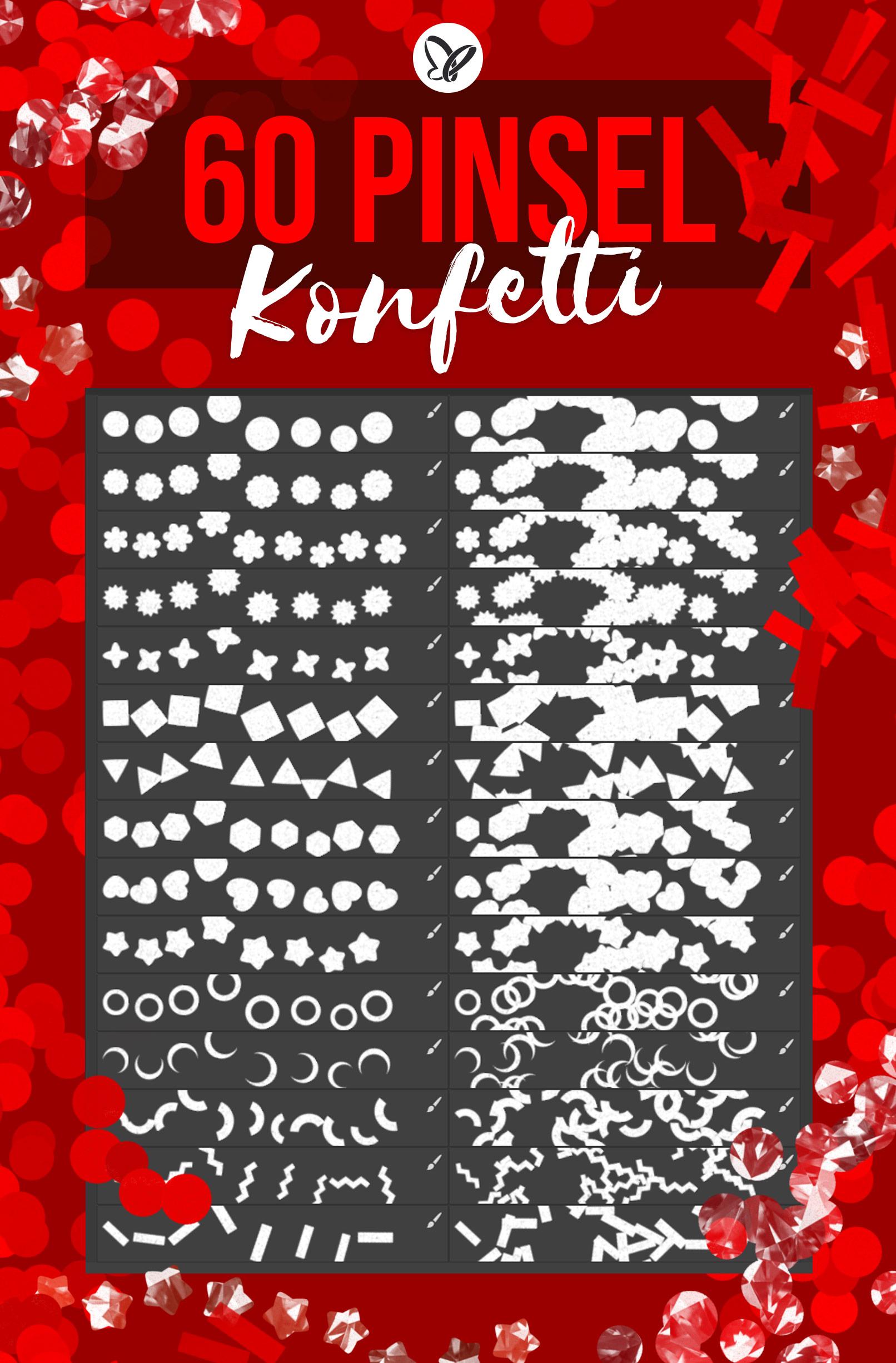 Konfetti-Pinsel für Photoshop mit verschiedenen Formen (Kreise, Rechtecke, Herzen)