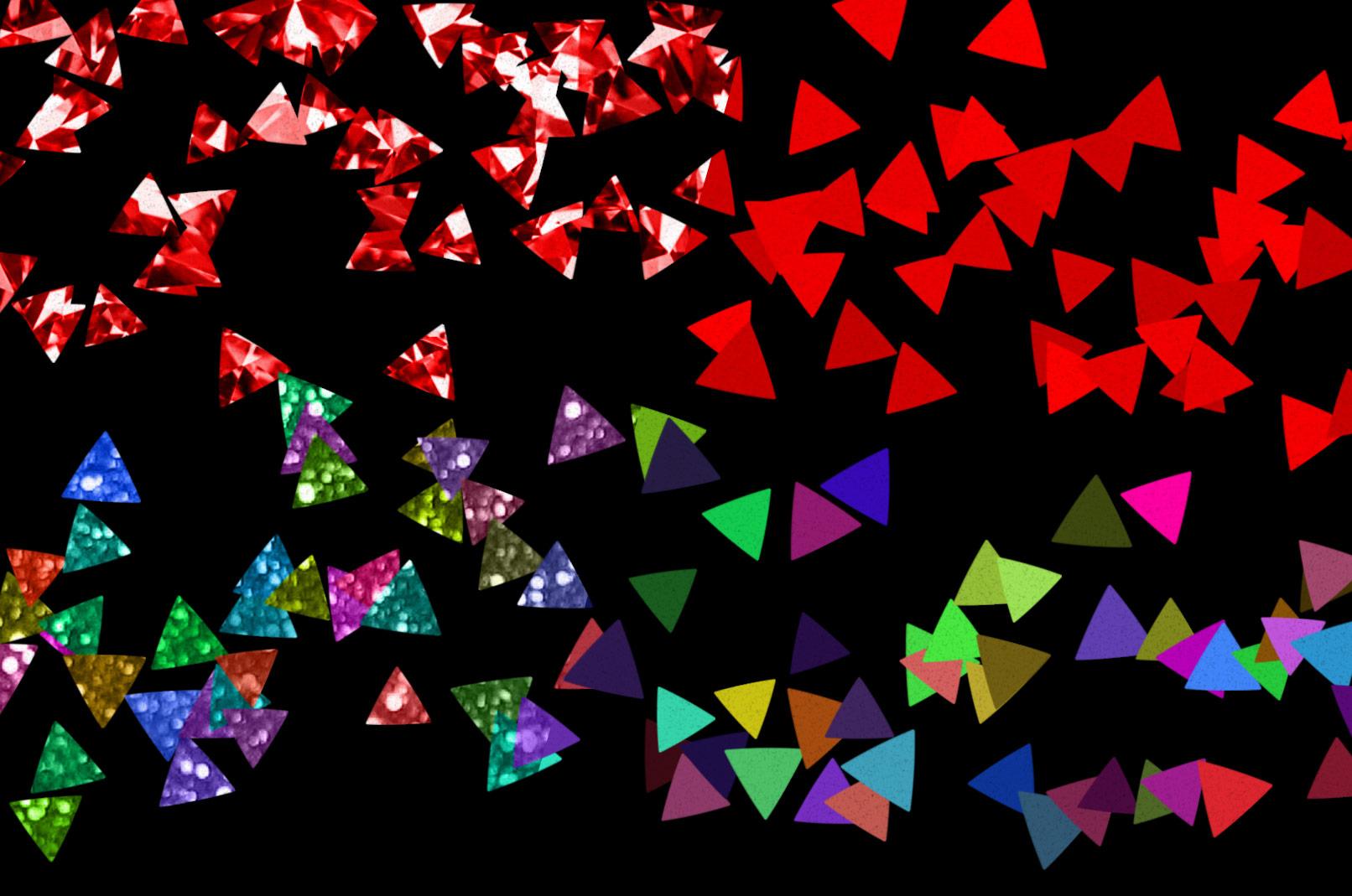 Dreieckige Konfetti-Schnipsel, einmal mit und einmal ohne Textur