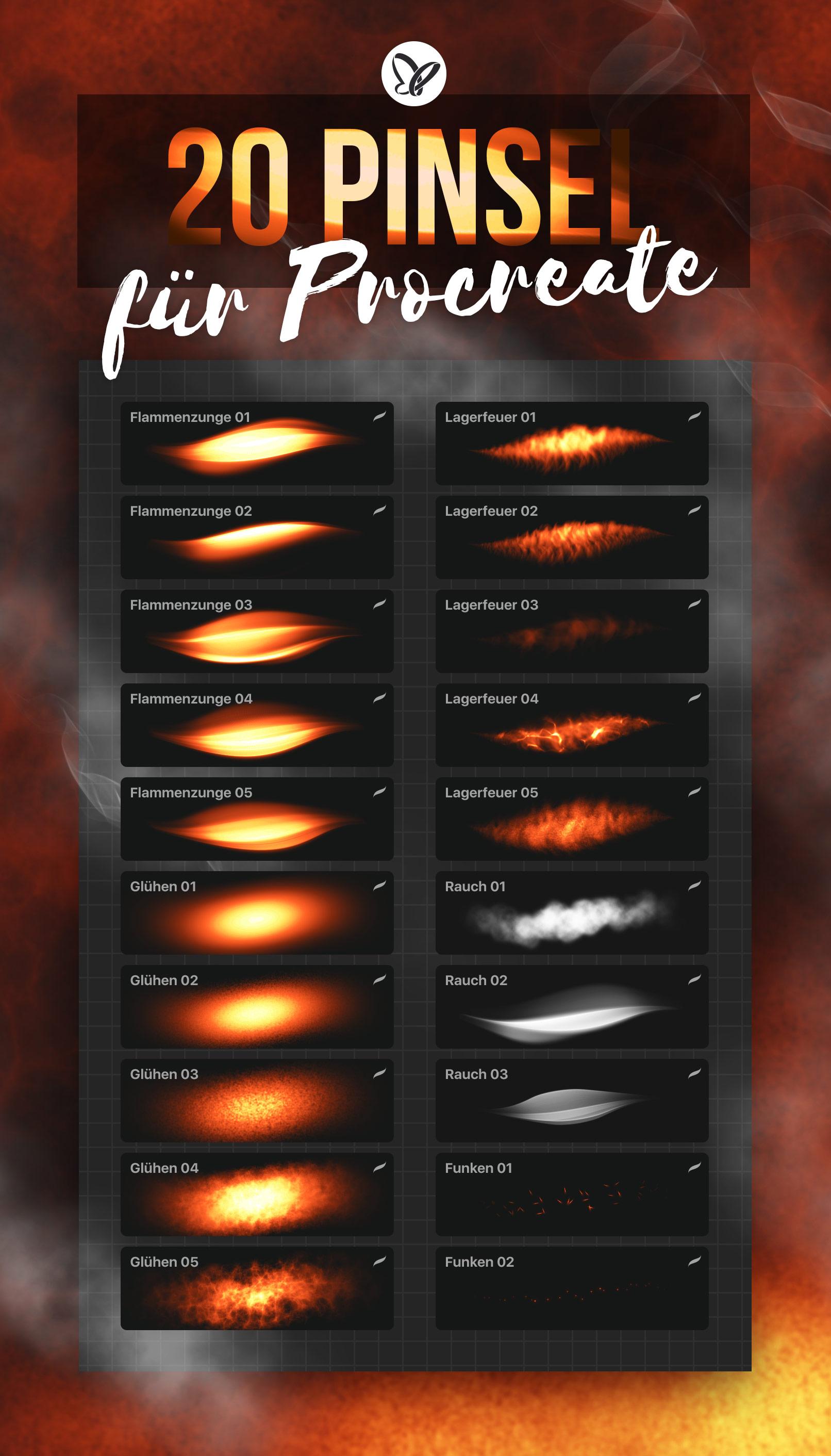 Procreate-Pinsel zum Zeichnen von Feuer mit Flammen-, Glüh-, Rauch- und Funken-Effekten
