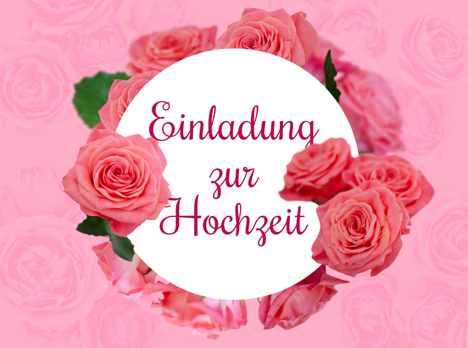 Einladungskarte für eine Hochzeit mit lachsfarbenen Rosen
