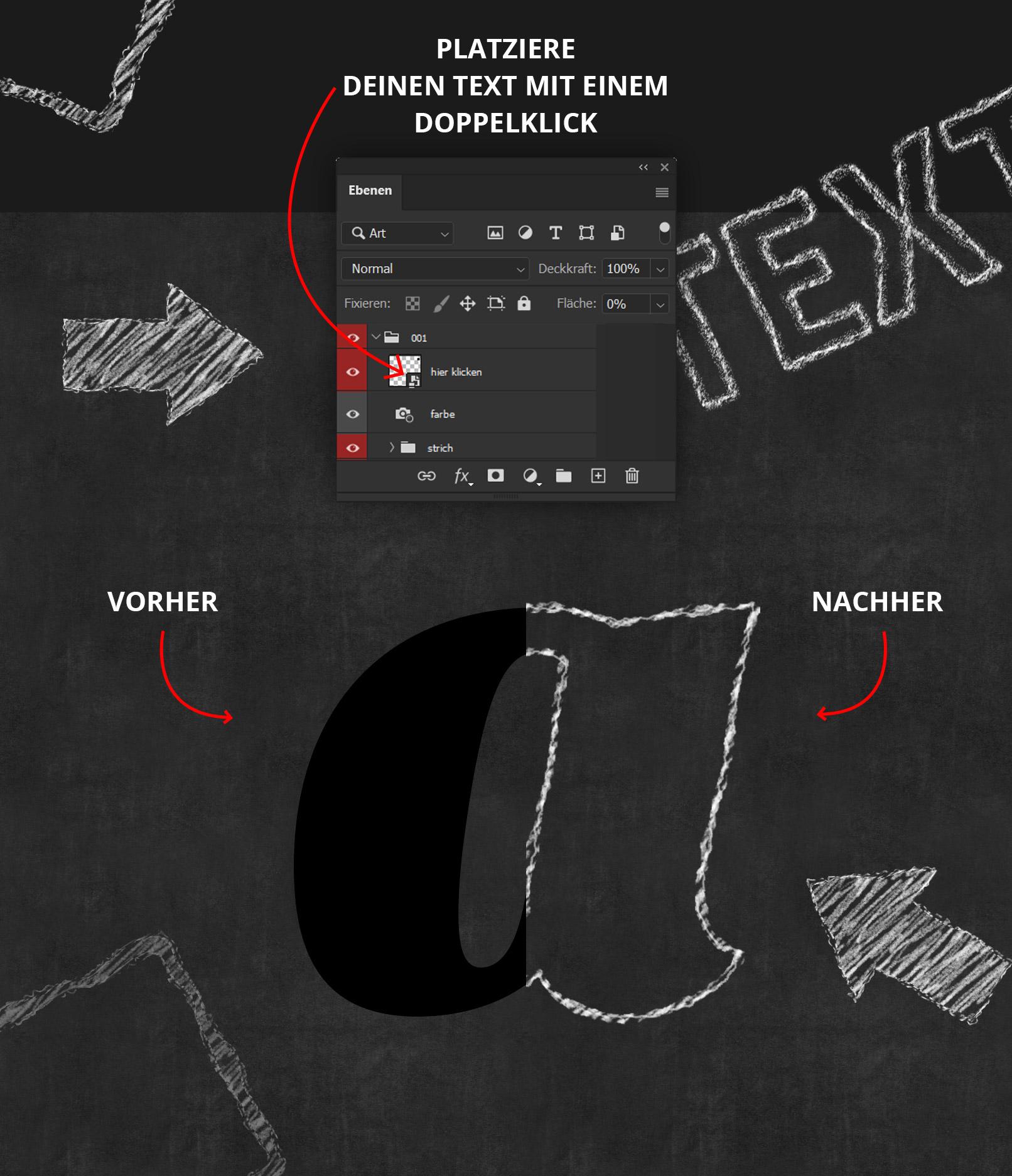 Anwendung der Photoshop-Smartobjekte für Kreideschrift- und Bleistift-Effekte