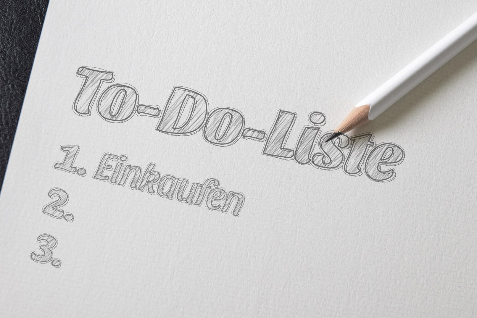 To-do-Liste auf Papier im Bleistift-Look, erstellt mit Photoshop-Smartobjekten und Mustern