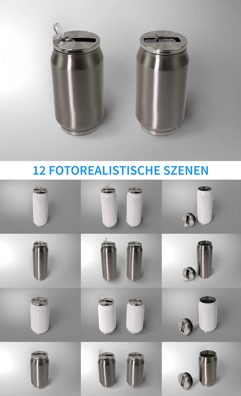 12 Photoshop-Mockups für Thermodosen mit verschiedenen Hintergründen