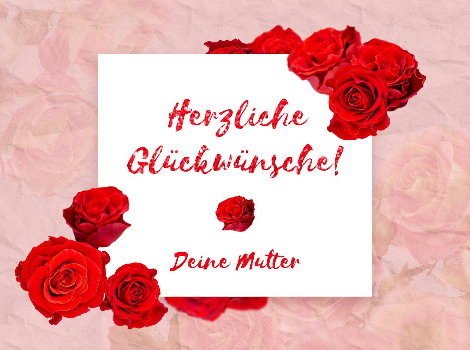Glückwunschkarte, die mit Bildern von roten Rosen gestaltet wurde