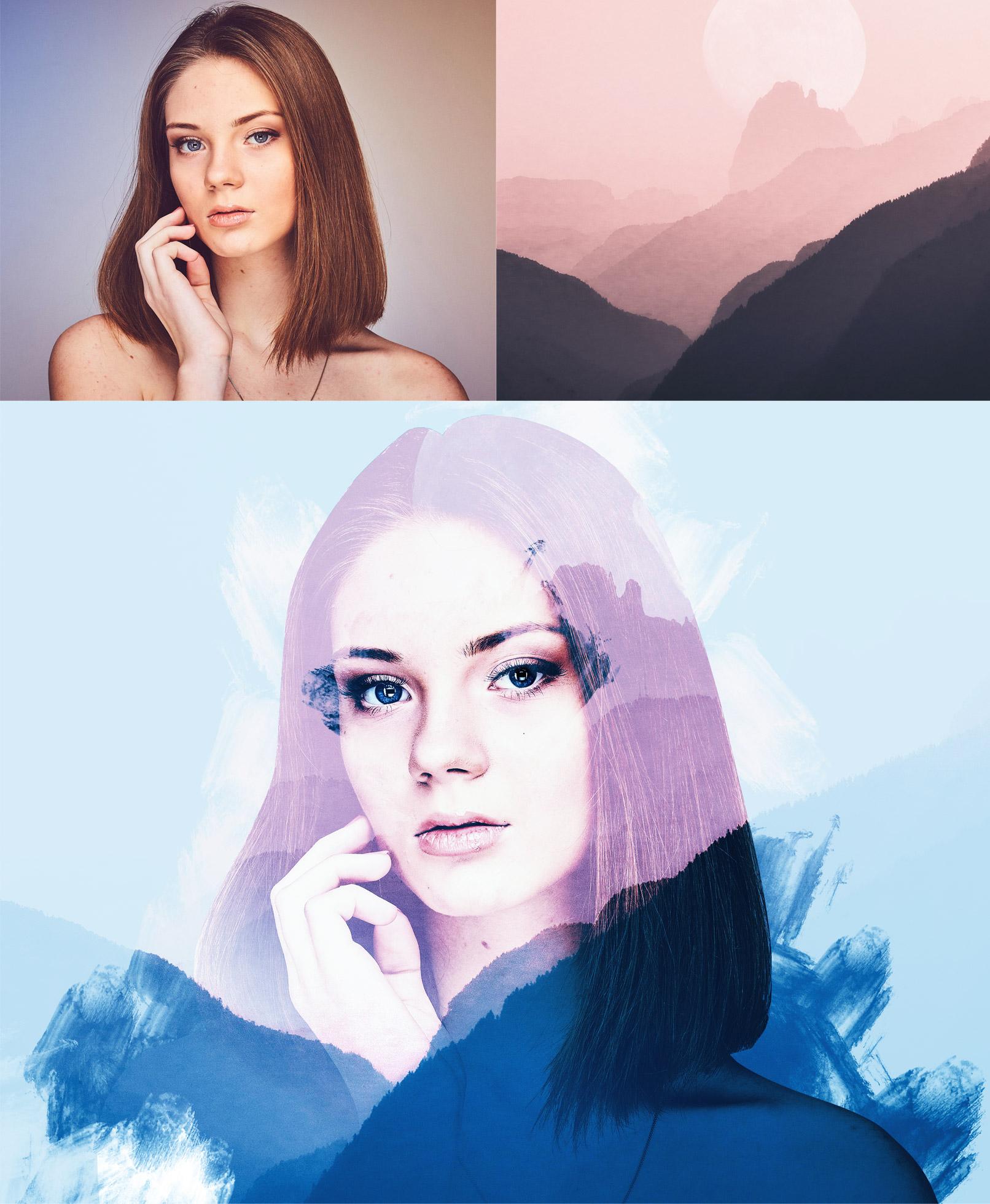 Portrait einer Frau und eine Landschaftsaufnahme, nach Anwendung der Aktion ergibt sich eine kunstvolle Double-Exposure-Effekt