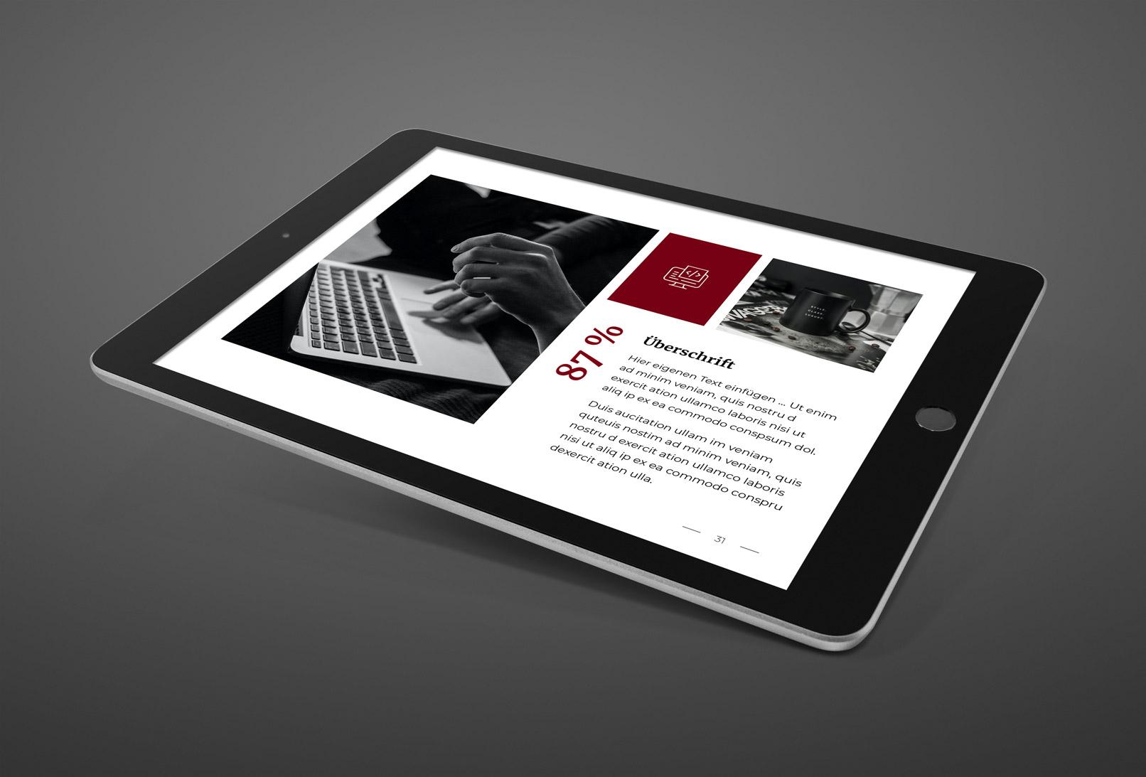 Folie aus Google Präsentationen, auf einem Tablet angezeigt
