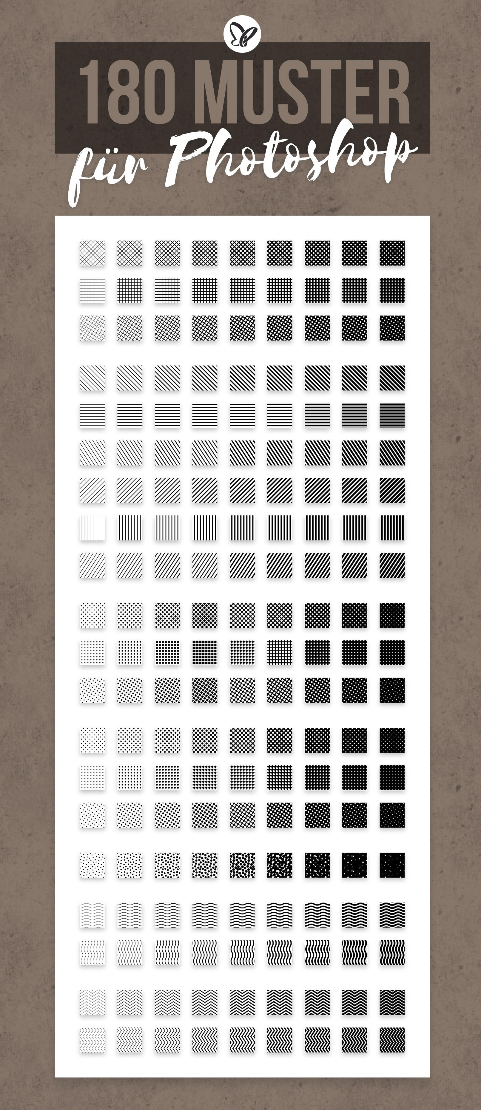 180 Halftone Patterns zur Erzeugung von Halbtonraster-Effekten in Photoshop