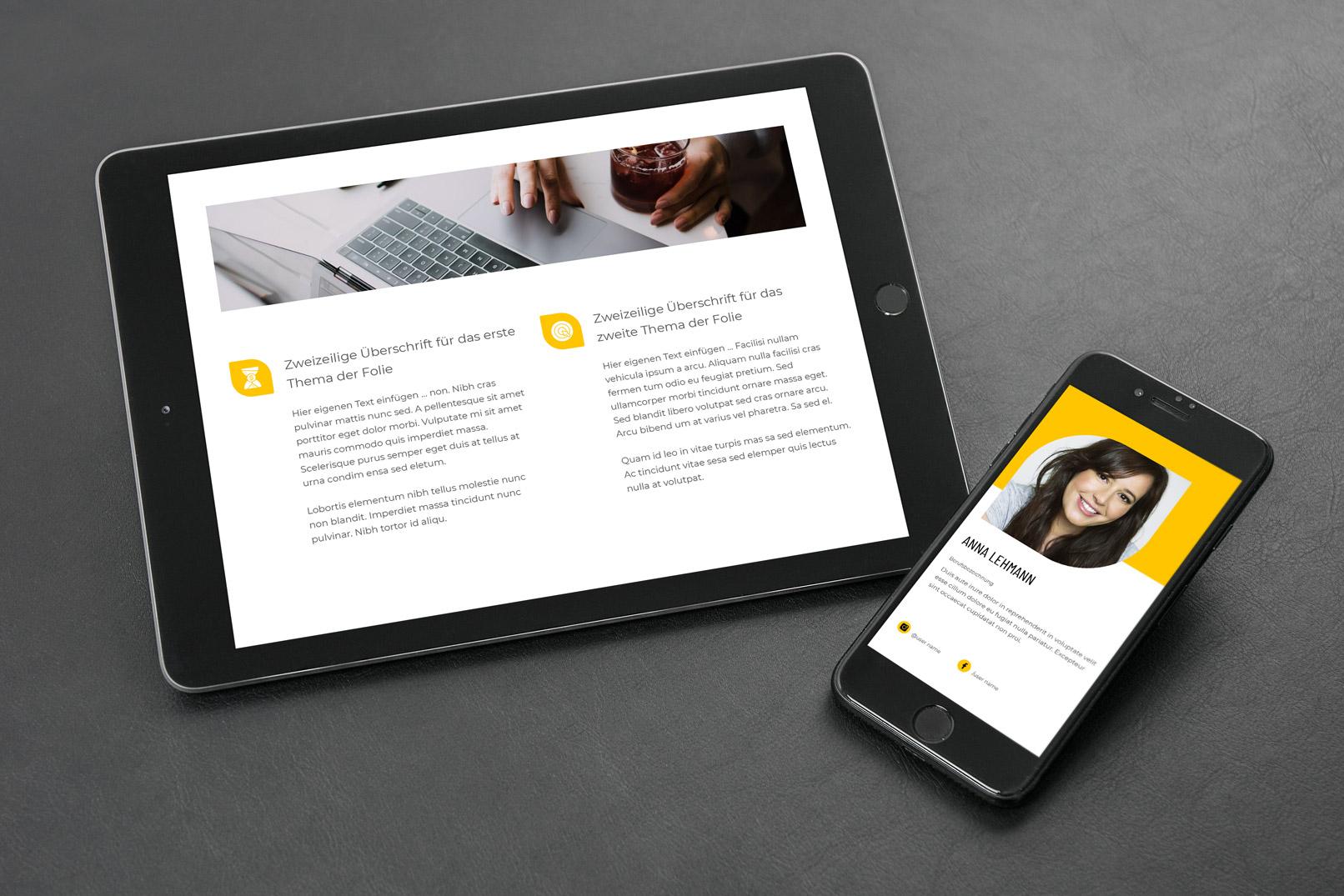 Template für eine Folie in Google Slides, dargestellt auf einem Tablet und einem Smartphone