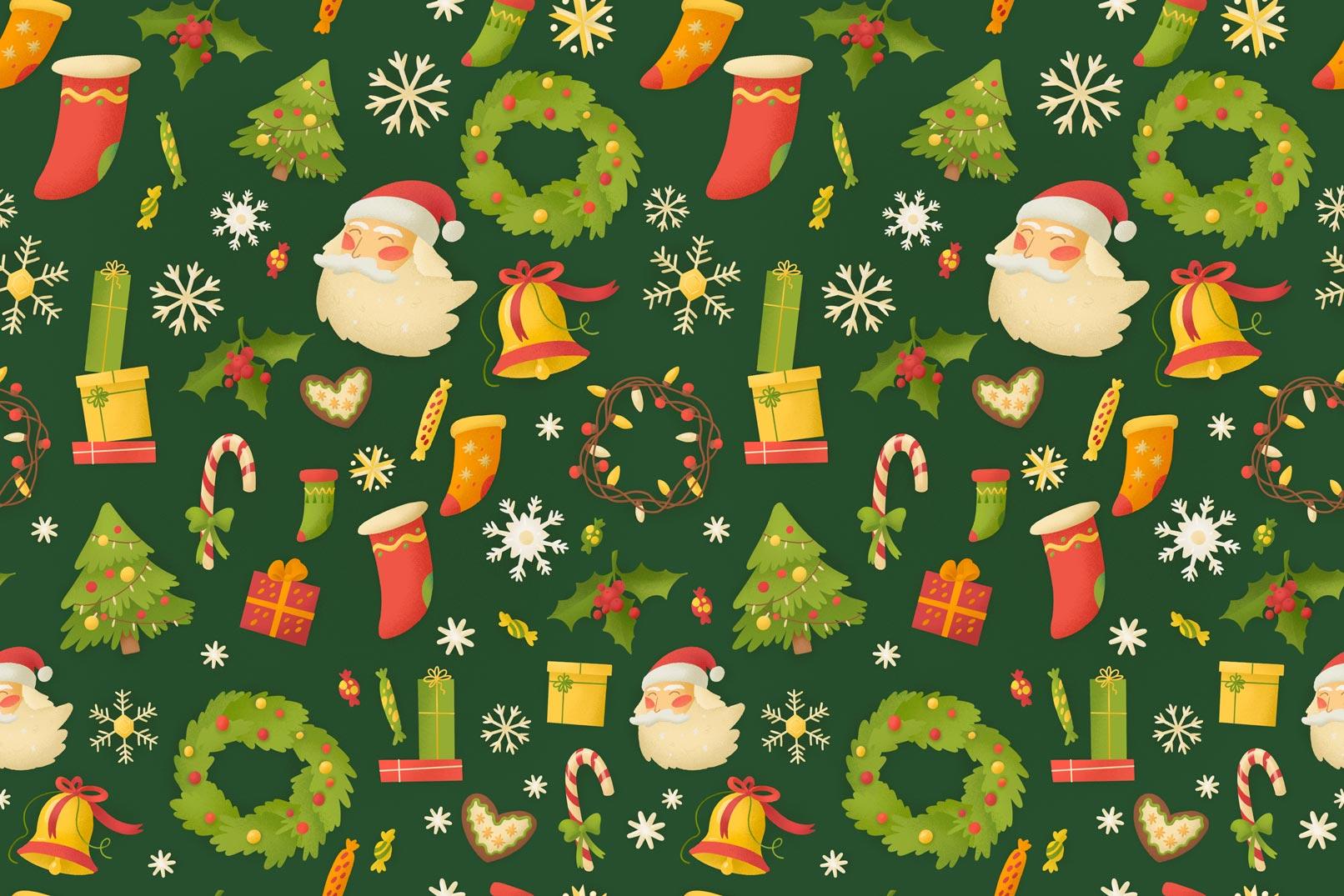 Weihnachtliche Muster und Illustrationen: Weihnachtsgrafiken vor grünem Hintergrund
