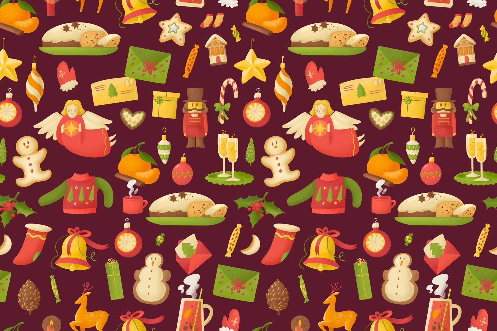 Weihnachtliche Muster und Illustrationen: Weihnachtsgrafiken vor rotem Hintergrund