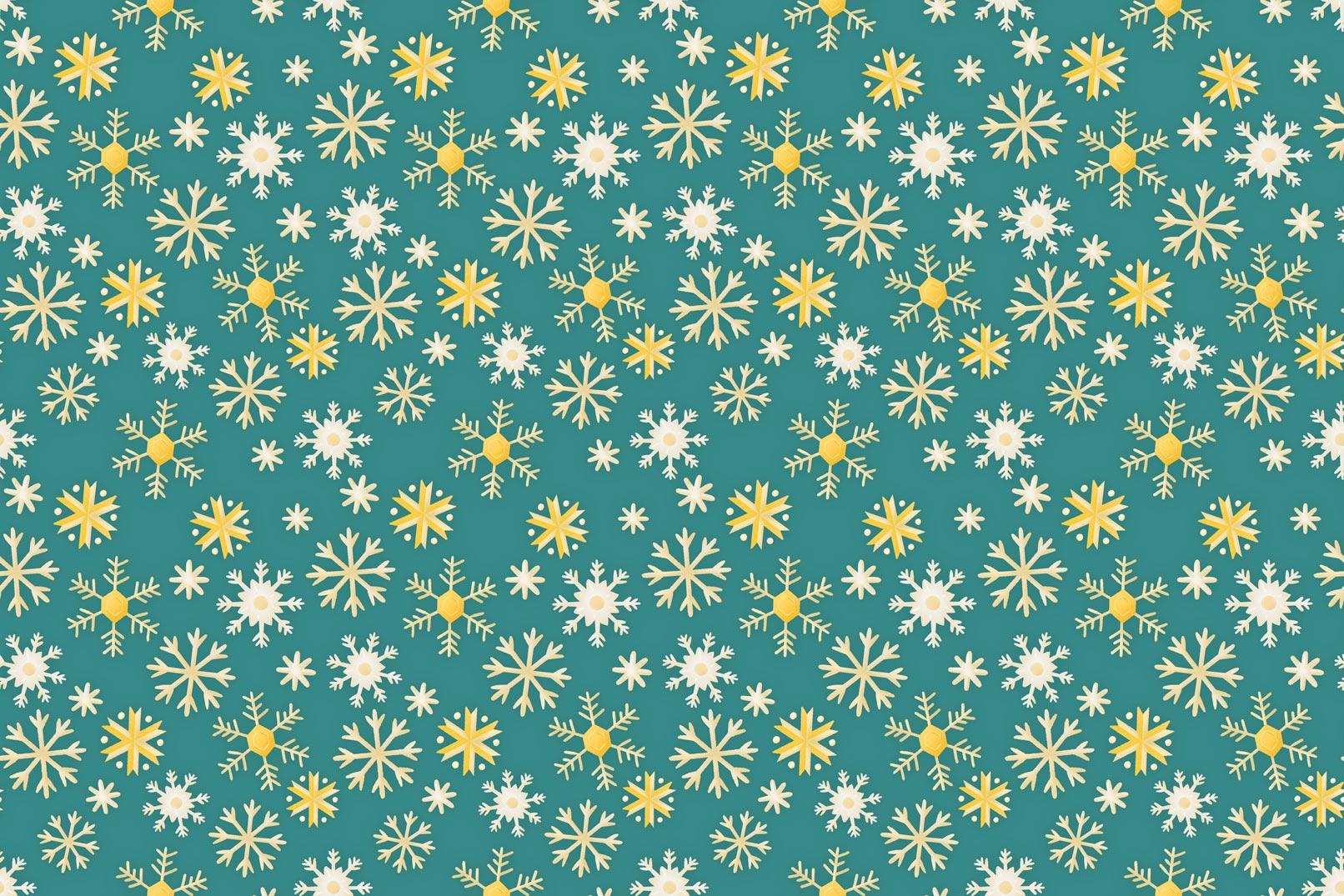 Weihnachtliche Muster und Illustrationen: Schneeflocken vor blauem Hintergrund