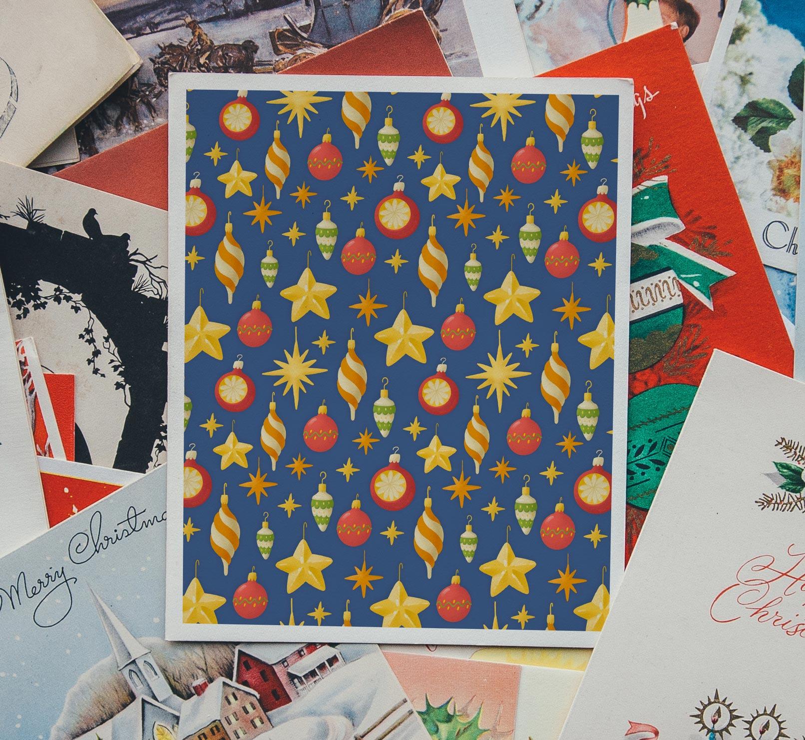 Weihnachtliche Muster und Illustrationen: Anwendungsbeispiel einer Weihnachtskarte