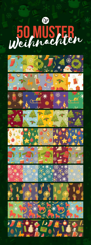 Weihnachtliche Muster und Illustrationen: Ausschnitte der 50 Bilder