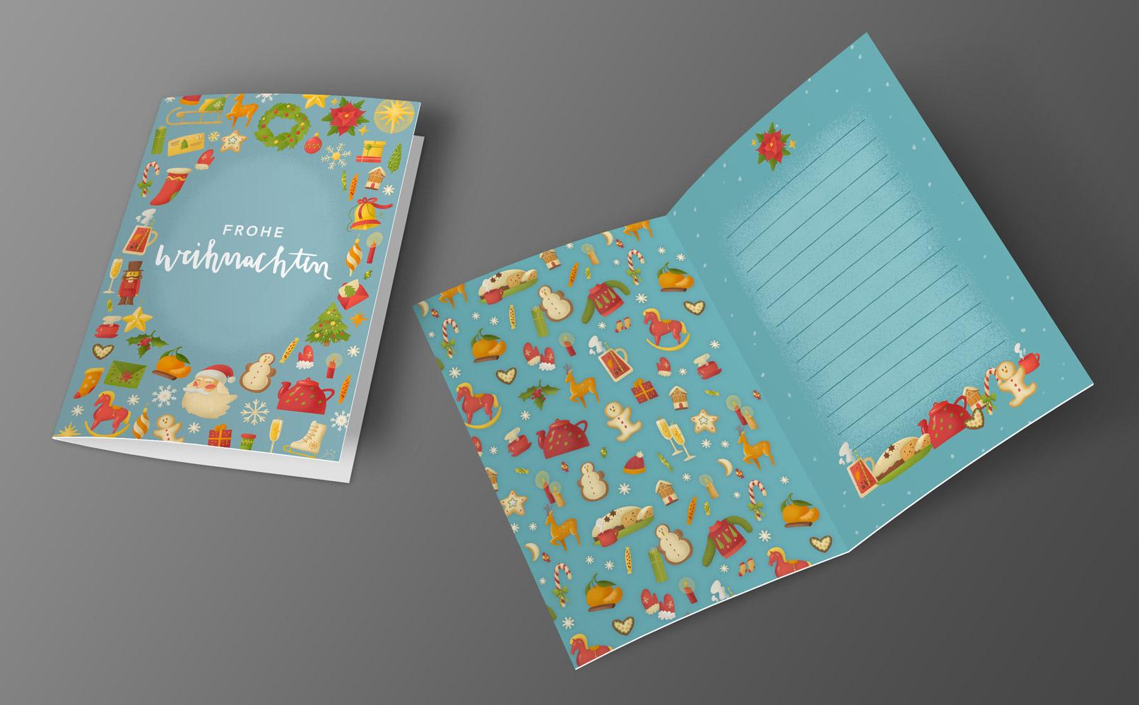Hintergründe für Weihnachtsgrußkarten: blaues Design mit weihnachtlichen Motiven