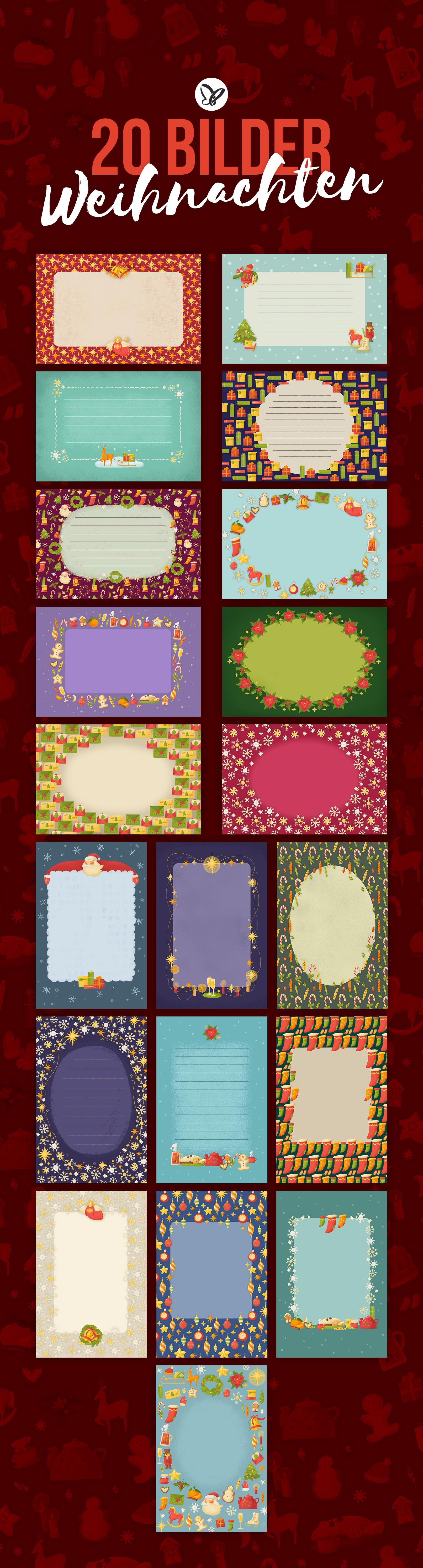 Hintergründe für Weihnachtsgrußkarten: 20 verschiedene Varianten zum Ausdrucken