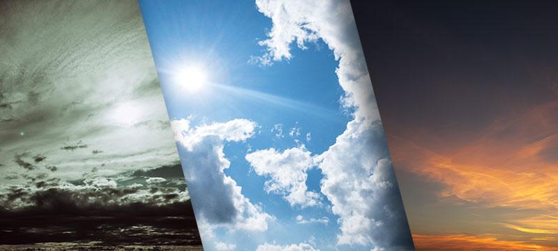 Drei Wolkenfotos zum Austauschen des Himmels und für den Hintergrund