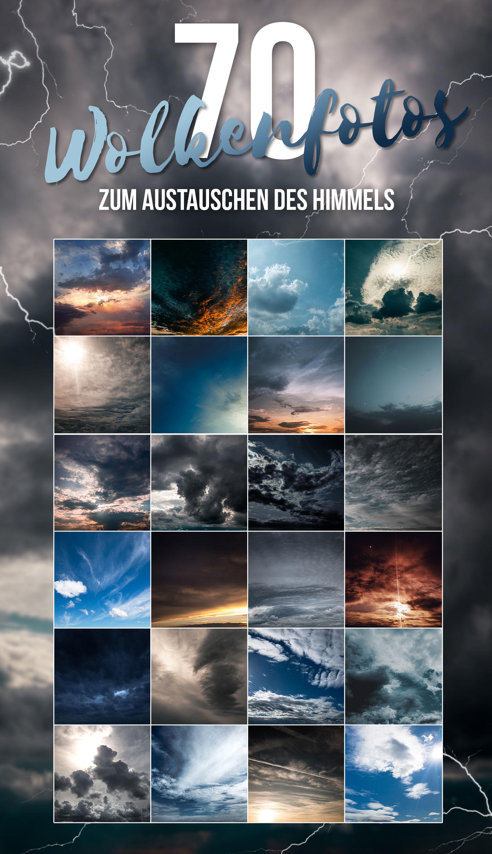 Wolkenfotos zum Austauschen des Himmels und für den Hintergrund