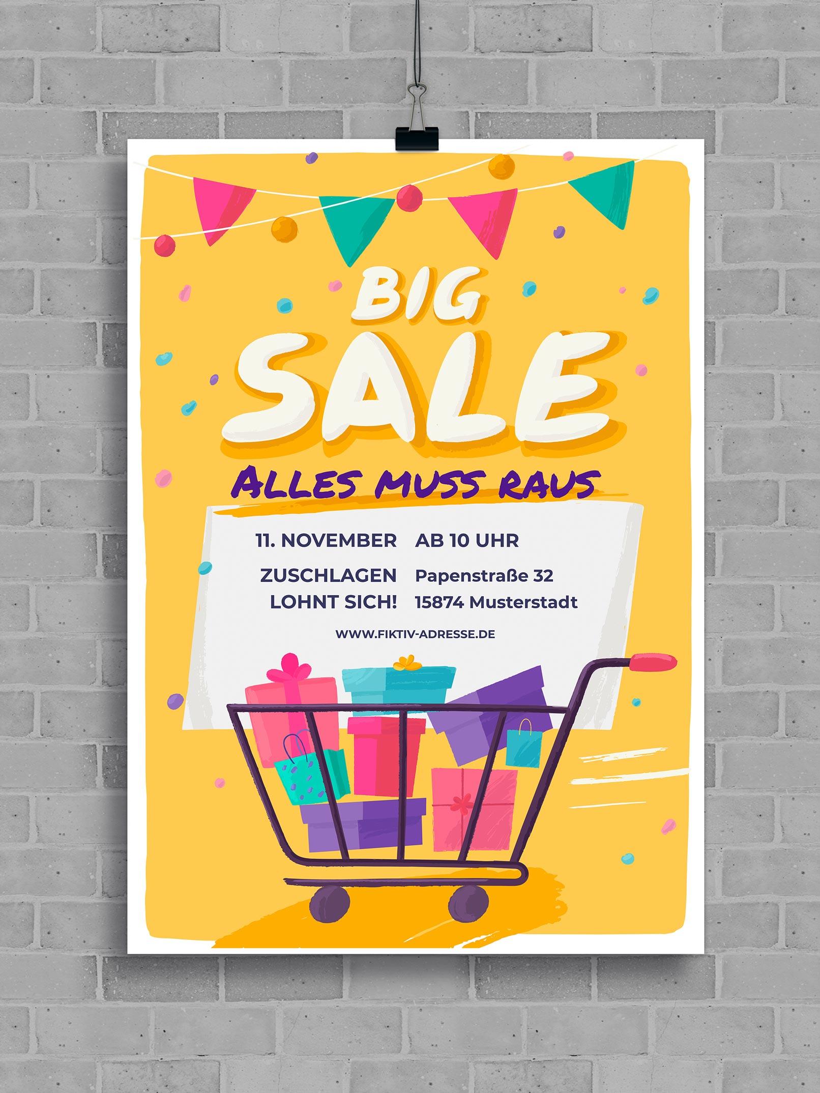 Vorlage für ein Werbeplakat mit Einkaufswagen vor gelbem Hintergrund