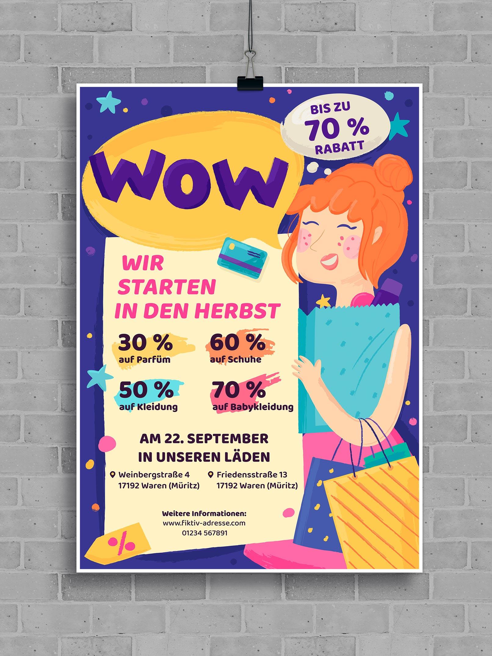 Vorlage für ein Werbeplakat mit einer Kundin, die Taschen trägt