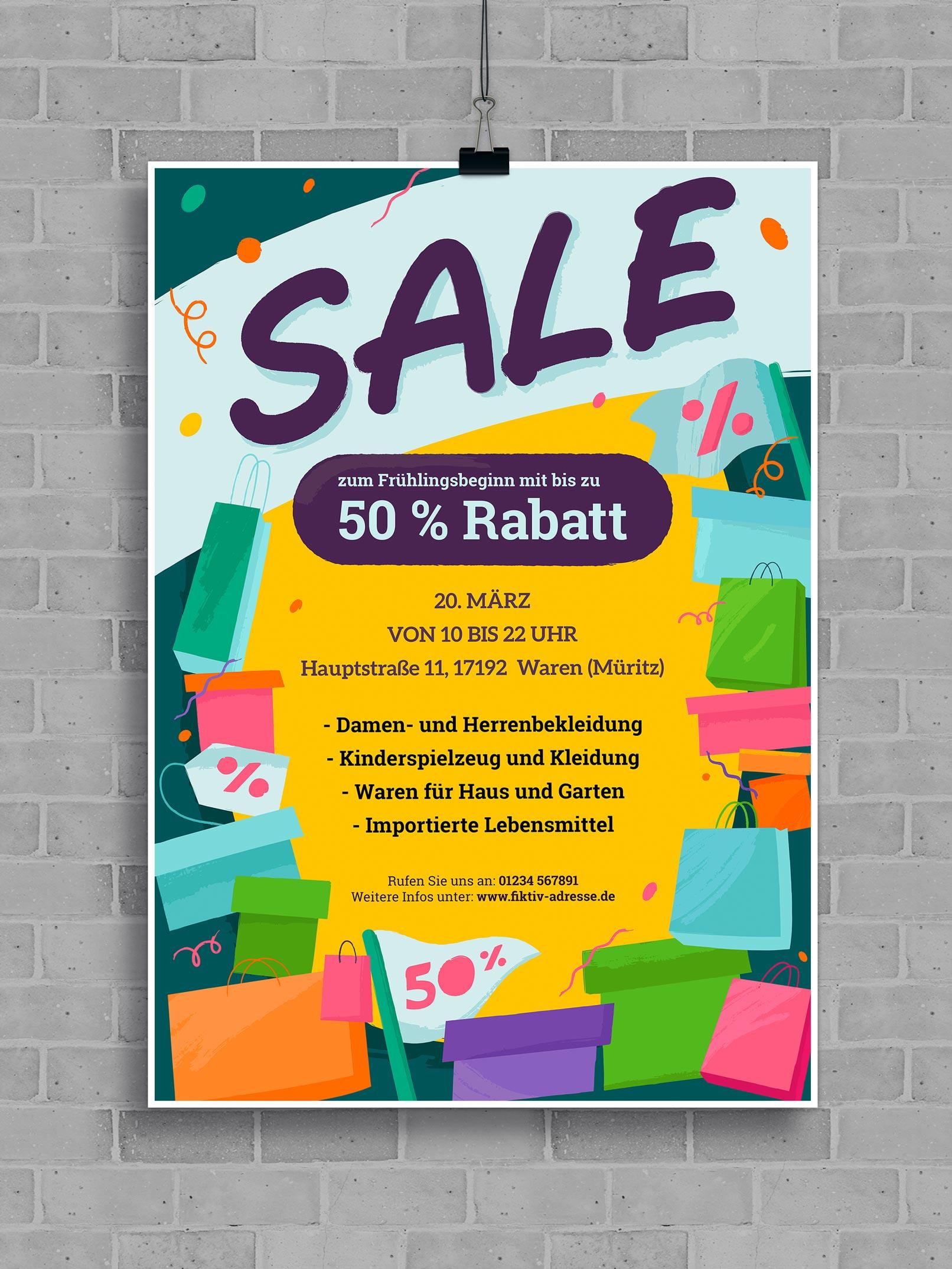 Vorlage für ein Werbeplakat mit Einkaufstaschen