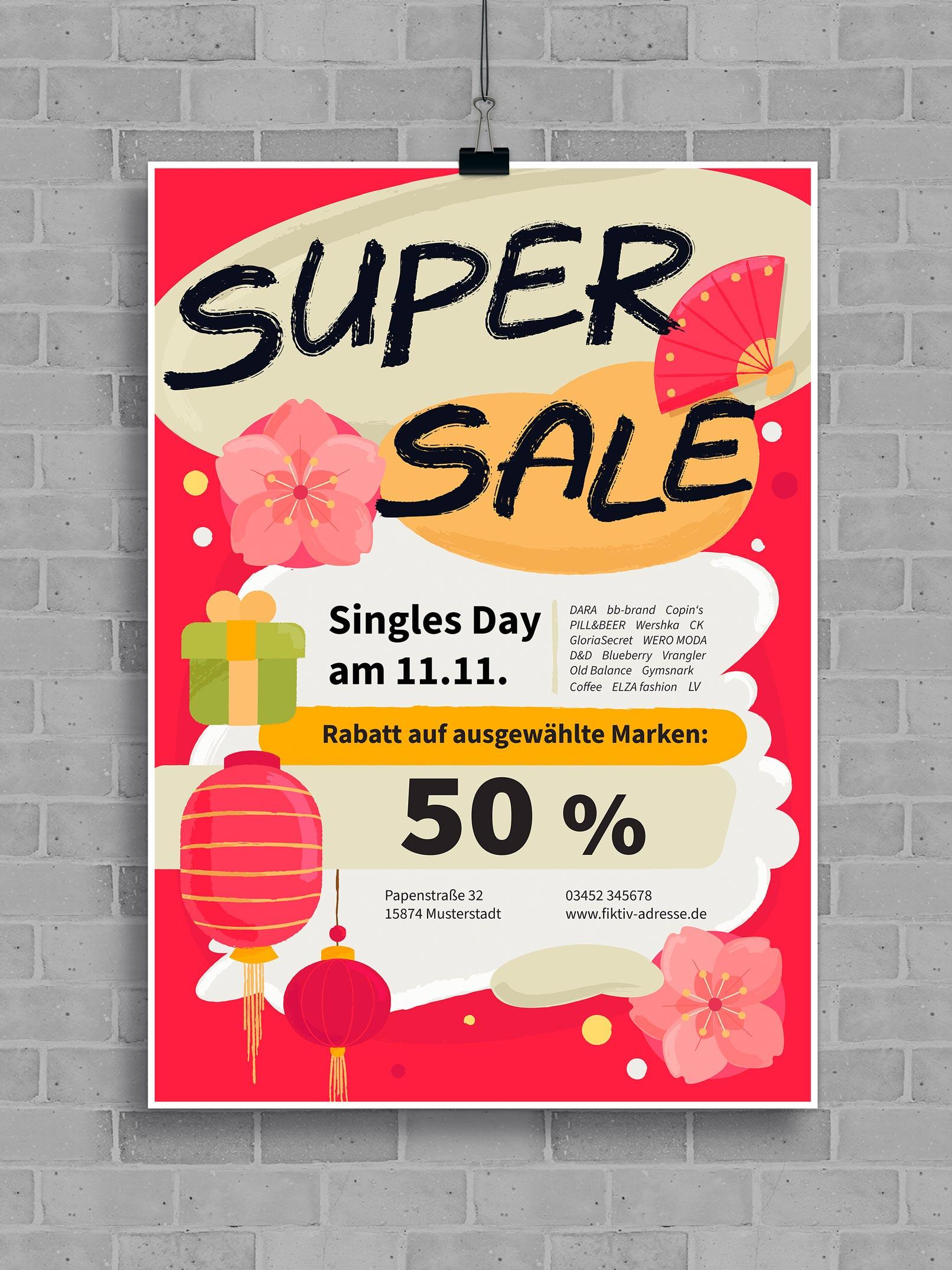 Vorlage für ein Werbeplakat im Singles Day-Design