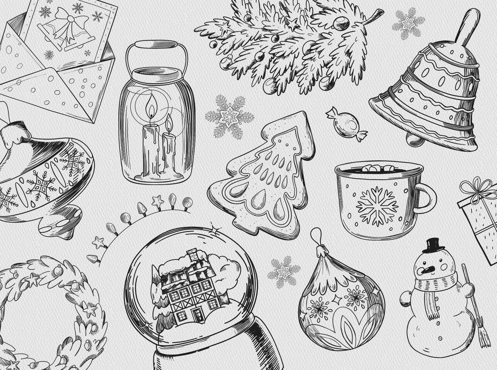 Schwarz-weiße Weihnachtsmotive als Hintergrundbild