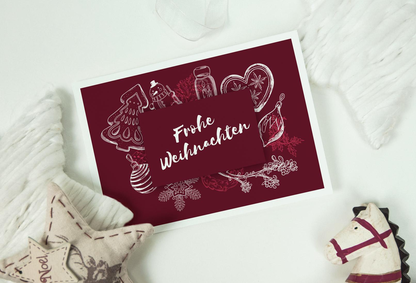 Weihnachtskarte mit weißen Weihnachtsmotiven