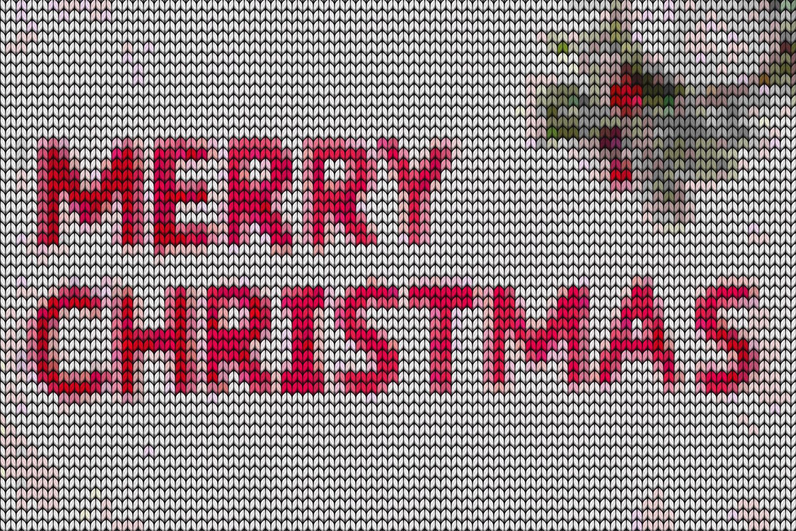 Weihnachtsgruß, von Strickmuster-Texturen überlagert