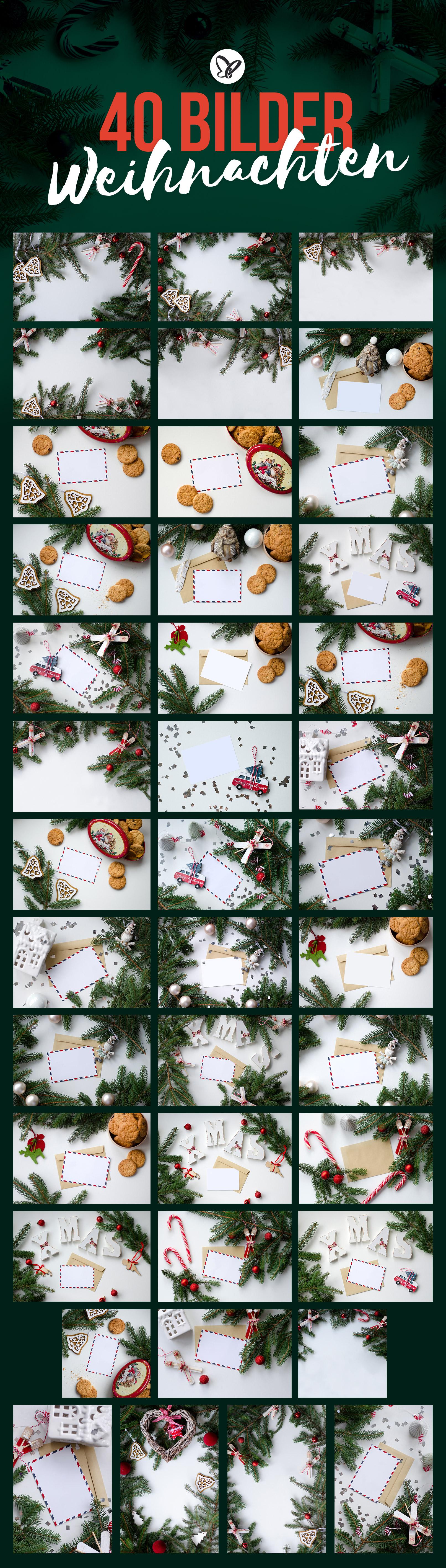40 weihnachtliche Hintergründe mit Tannenzweigen, Zuckerstangen, Postkarten und mehr