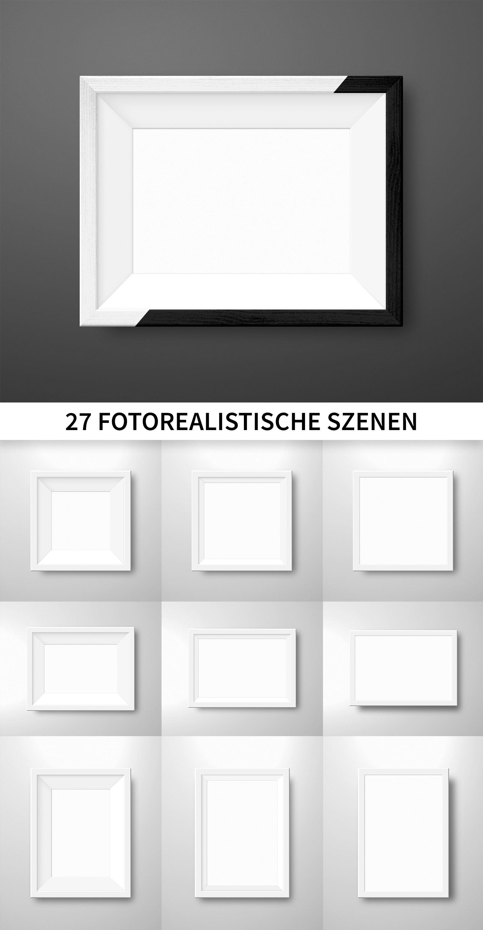 Bilderrahmen in Schwarz und Weiß für Hochformat, Querformat und Quadratformat, die in den Mockups zur Verfügung stehen