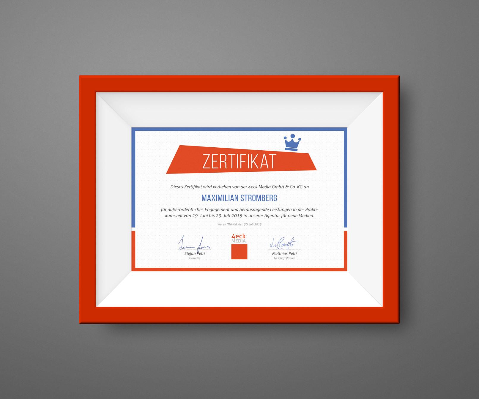Zertifikat eines Unternehmens in einem Bilderrahmen