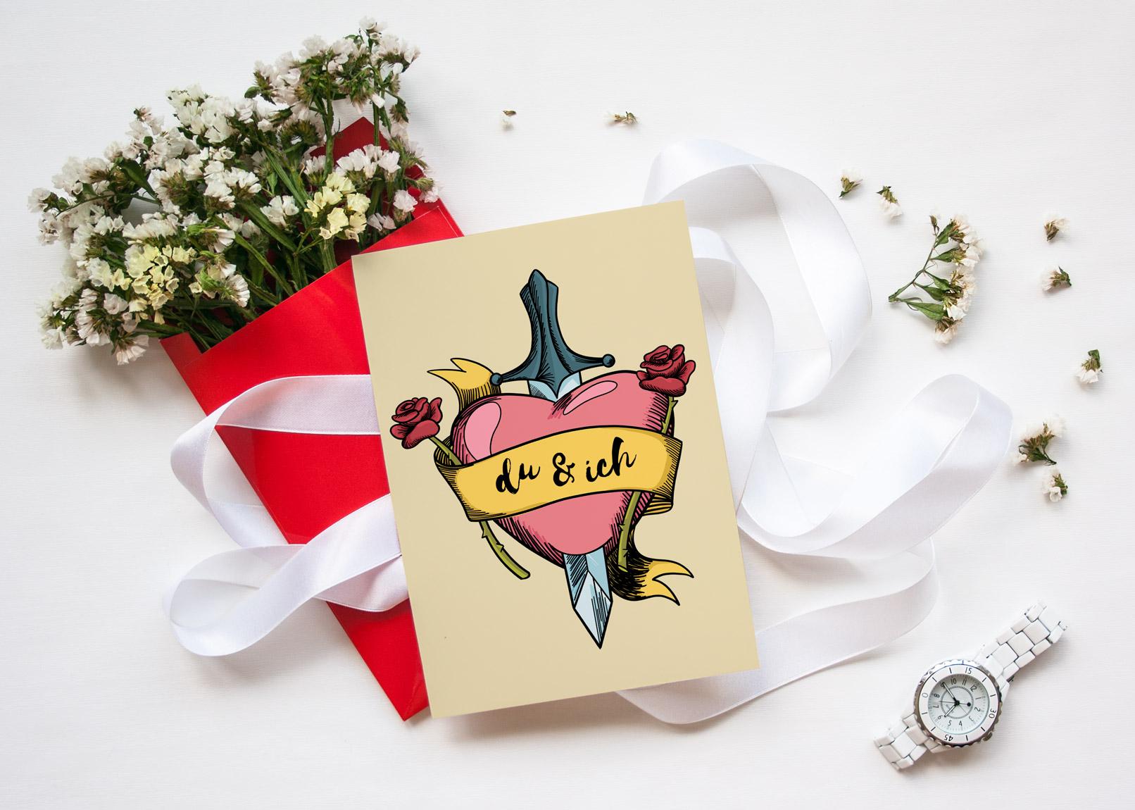 Herz-Bild auf einer Karte zum Valentinstag