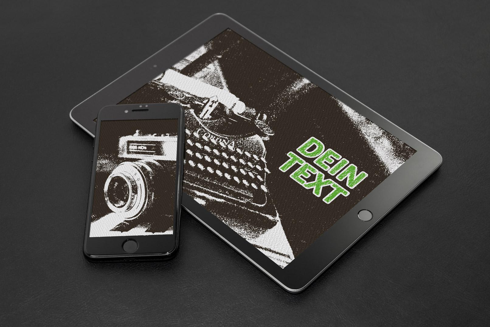 Grunge-Retro-Effekt für ein Bild mit Fotoapparat und ein Bild mit Schreibmaschine, gezeigt auf Tablet und Smartphone