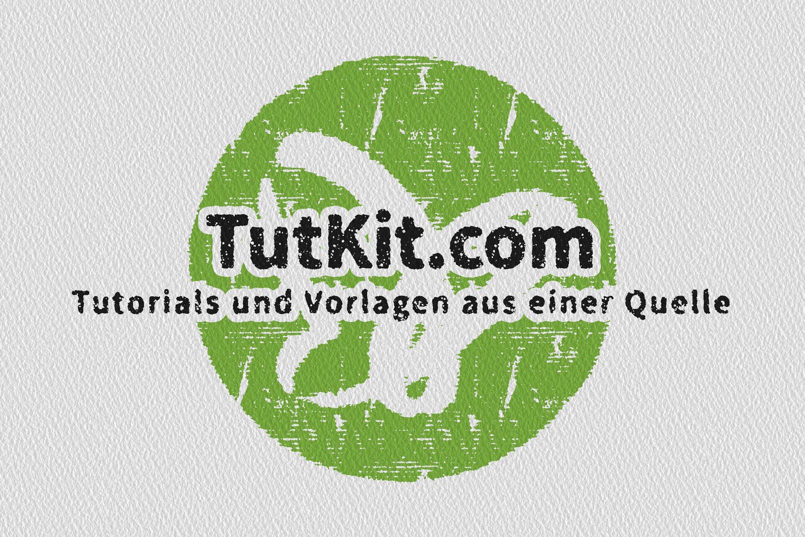 Logo mit Schriftzug, Streifen-Effekt auf Papiertextur