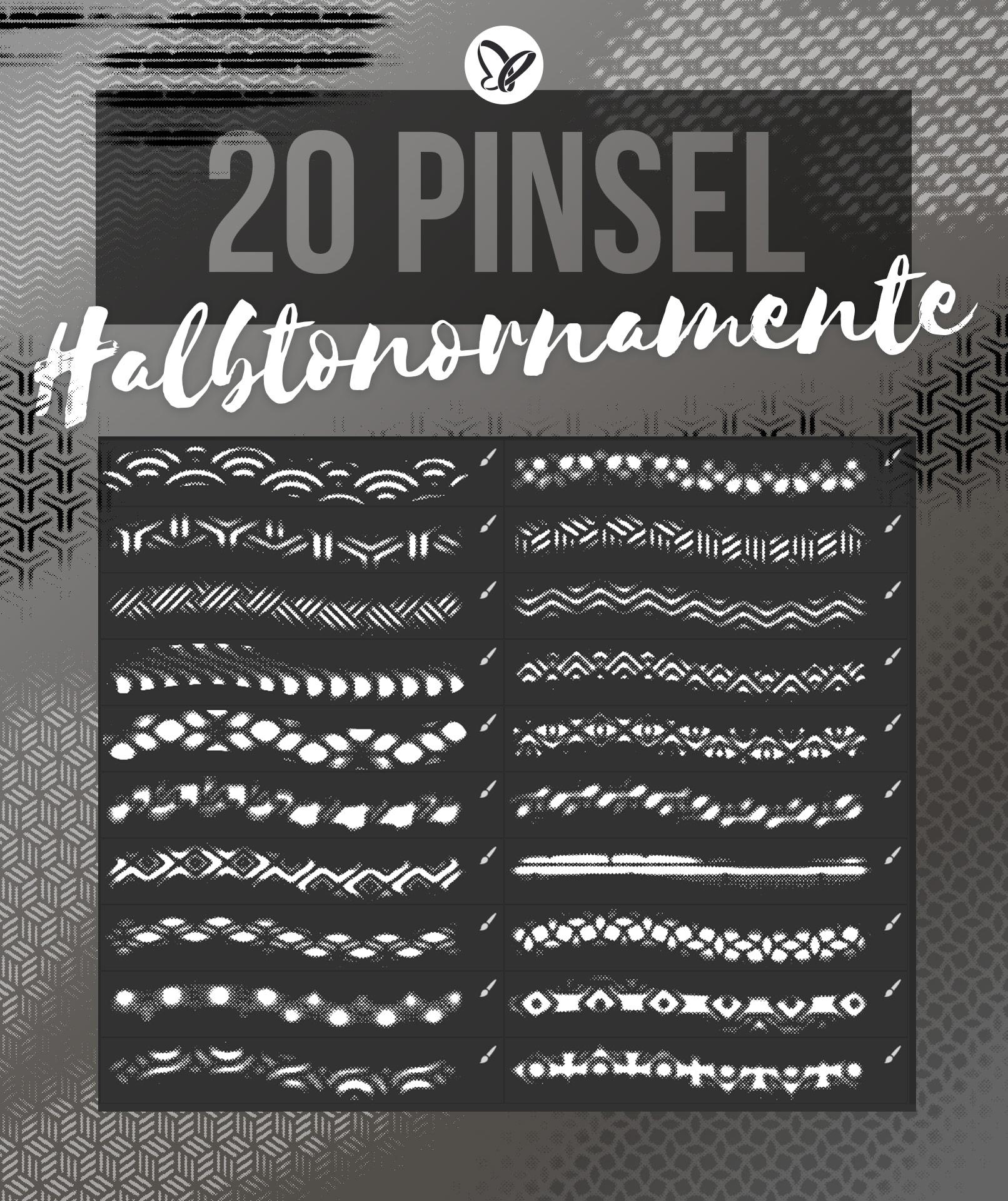 20 Pinsel für Photoshop mit Halbtonornamenten