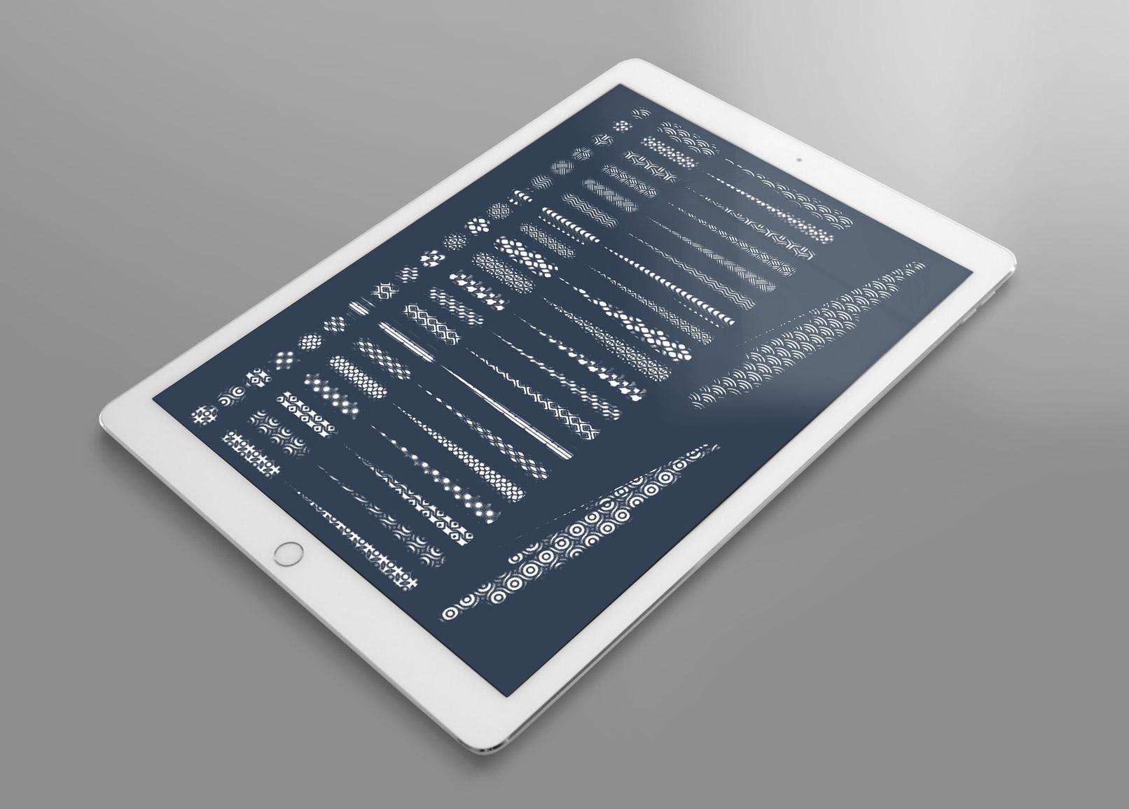 Tablet: Zeigt die Muster, die sich durch den Einsatz der Photoshop-Pattern-Brushes ergeben