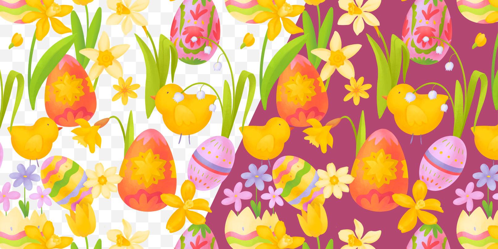 Oster-Muster mit farbigem und transparentem Hintergrund