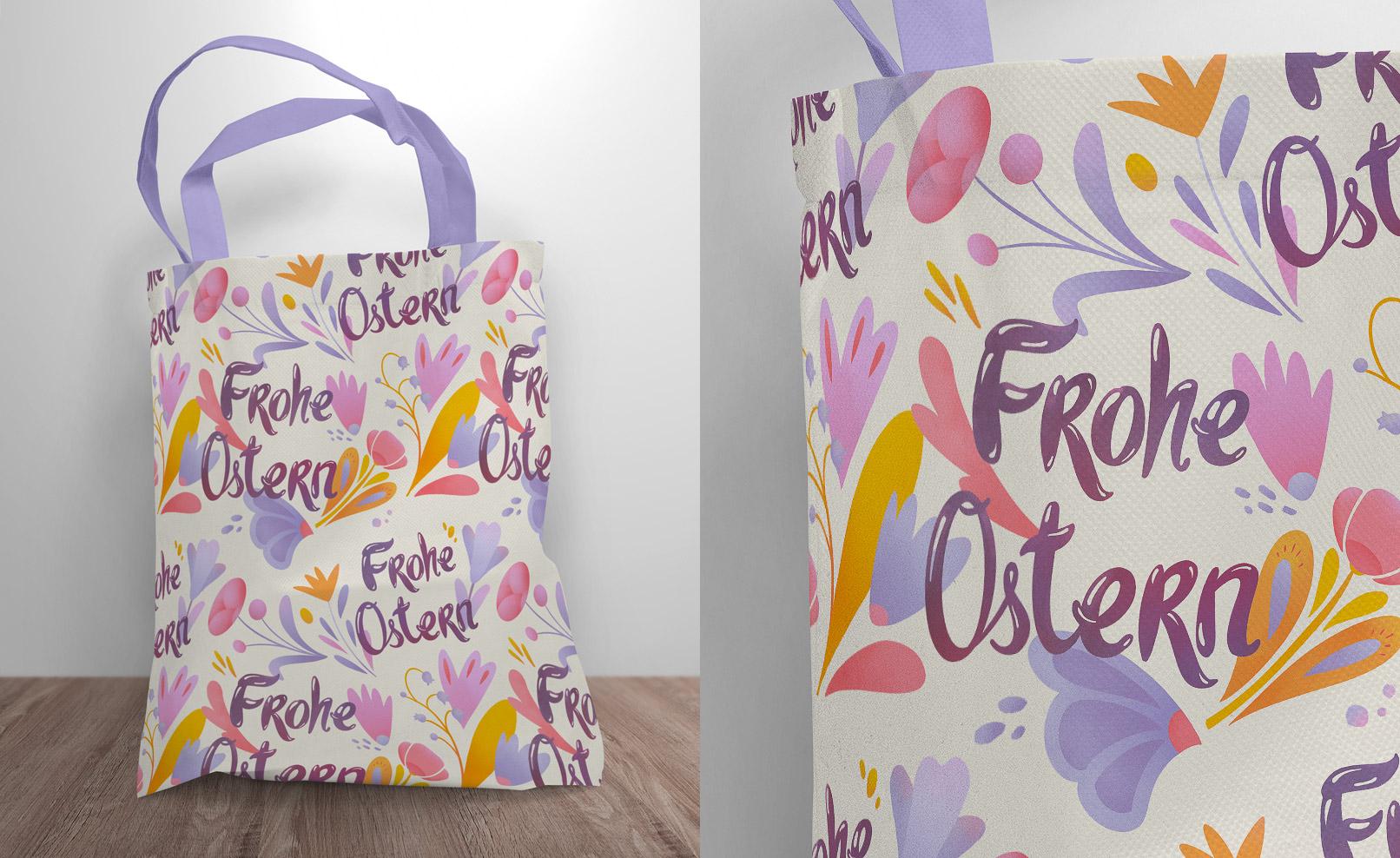 Einkaufstasche mit Oster-Mustern