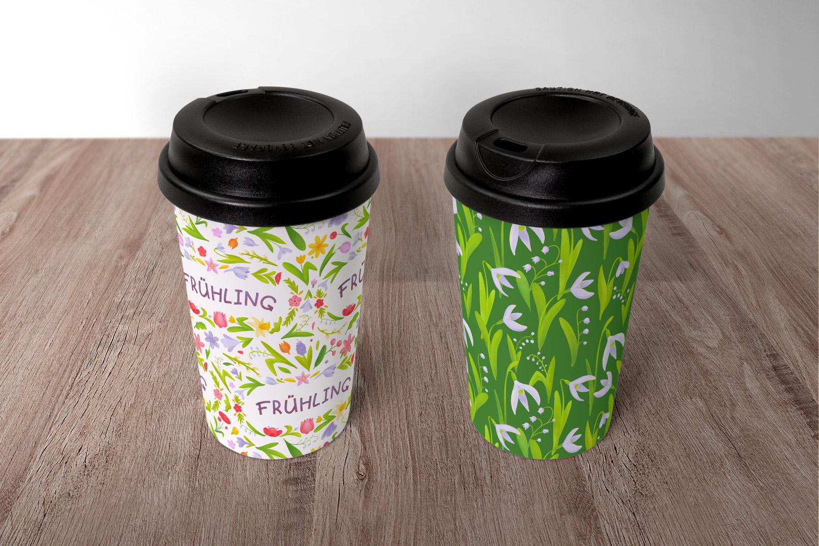 Coffee-to-go-Becher mit österlichen Mustern