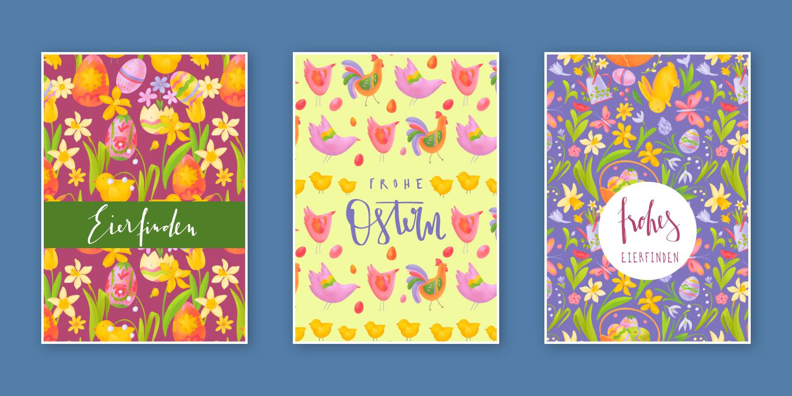 Ostergrußkarten mit Mustern als Hintergrundbilder und österlichen Sprüchen