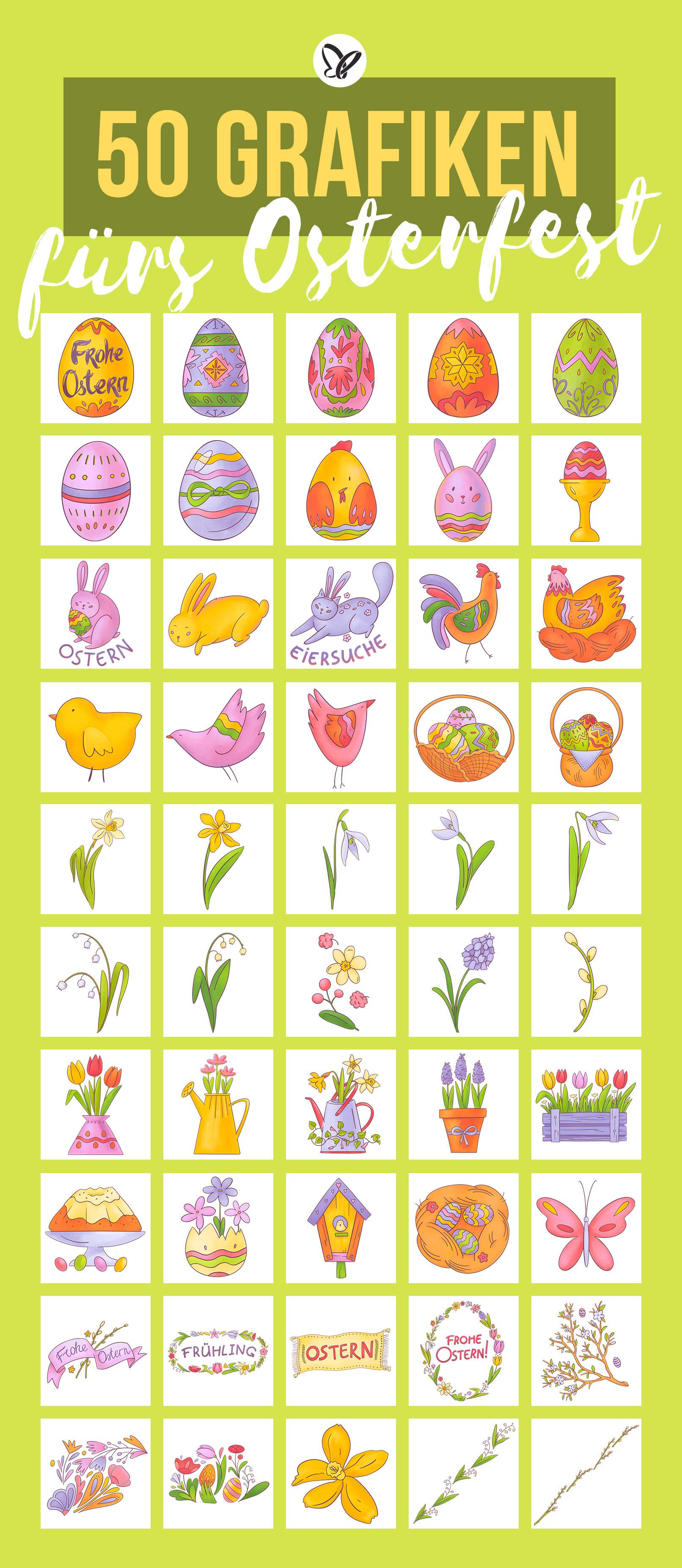 Vorschau auf 50 Grafiken für Ostern mit Osterhasen, Ostereiern, Hühnern, Küken und Co.