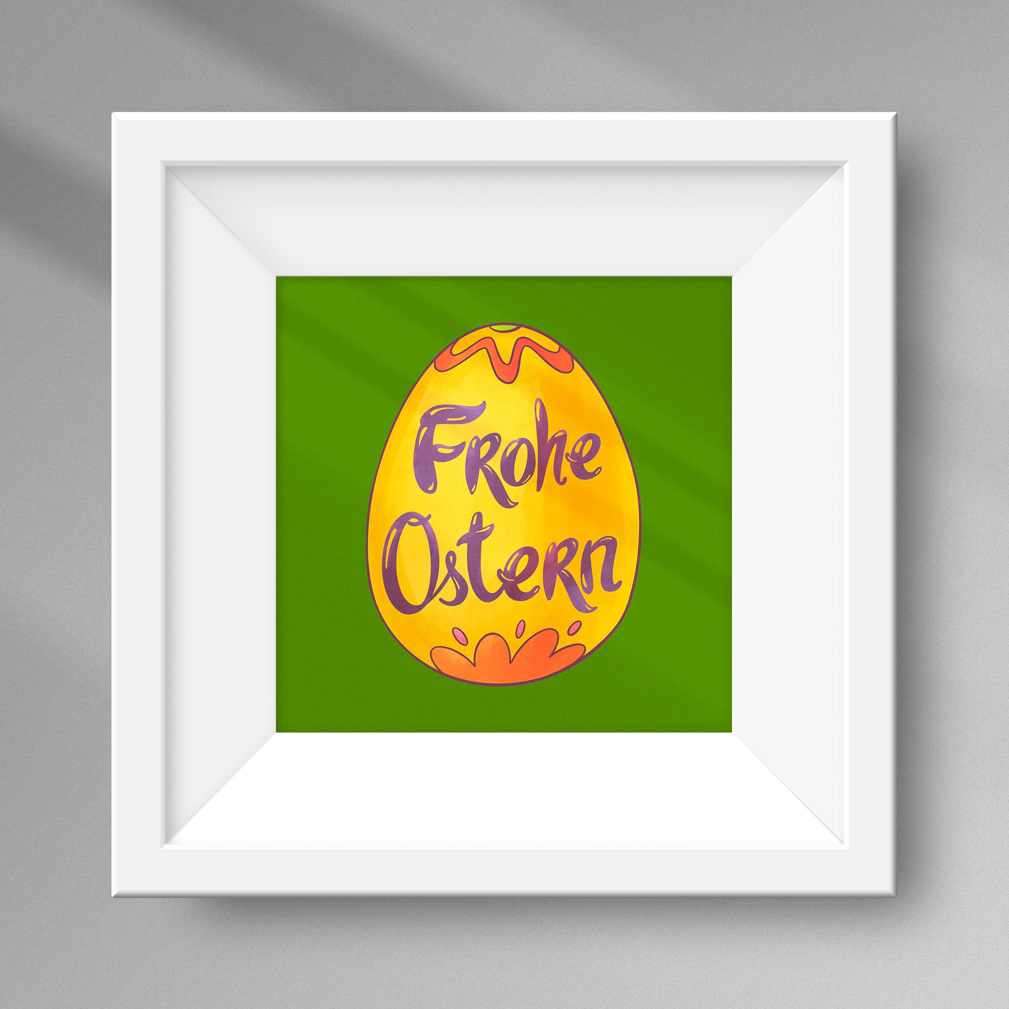 Grafik eines Ostereis vor grünem Hintergrund, eingerahmt