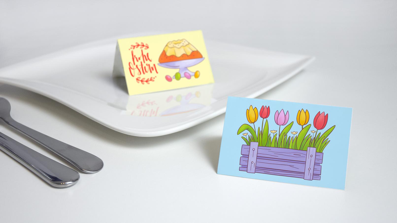 Tischkarten, auf denen Illustrationen für Ostern verwendet werden